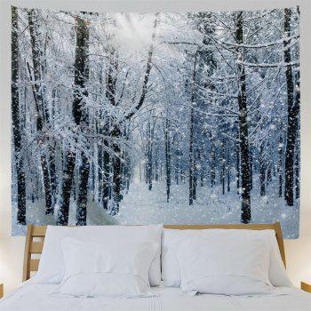 Snow Forest Print Tapestry Wall Hanging Art - GREY WHITE W91 INCH * L71 INCH