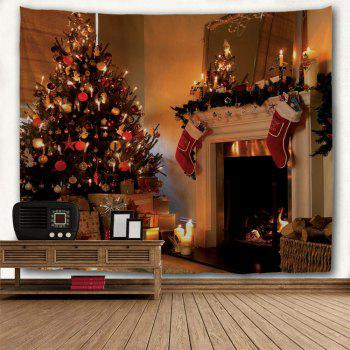 Christmas Fireplace Print Wall Tapestry - COLORMIX W59 INCH * L51 INCH