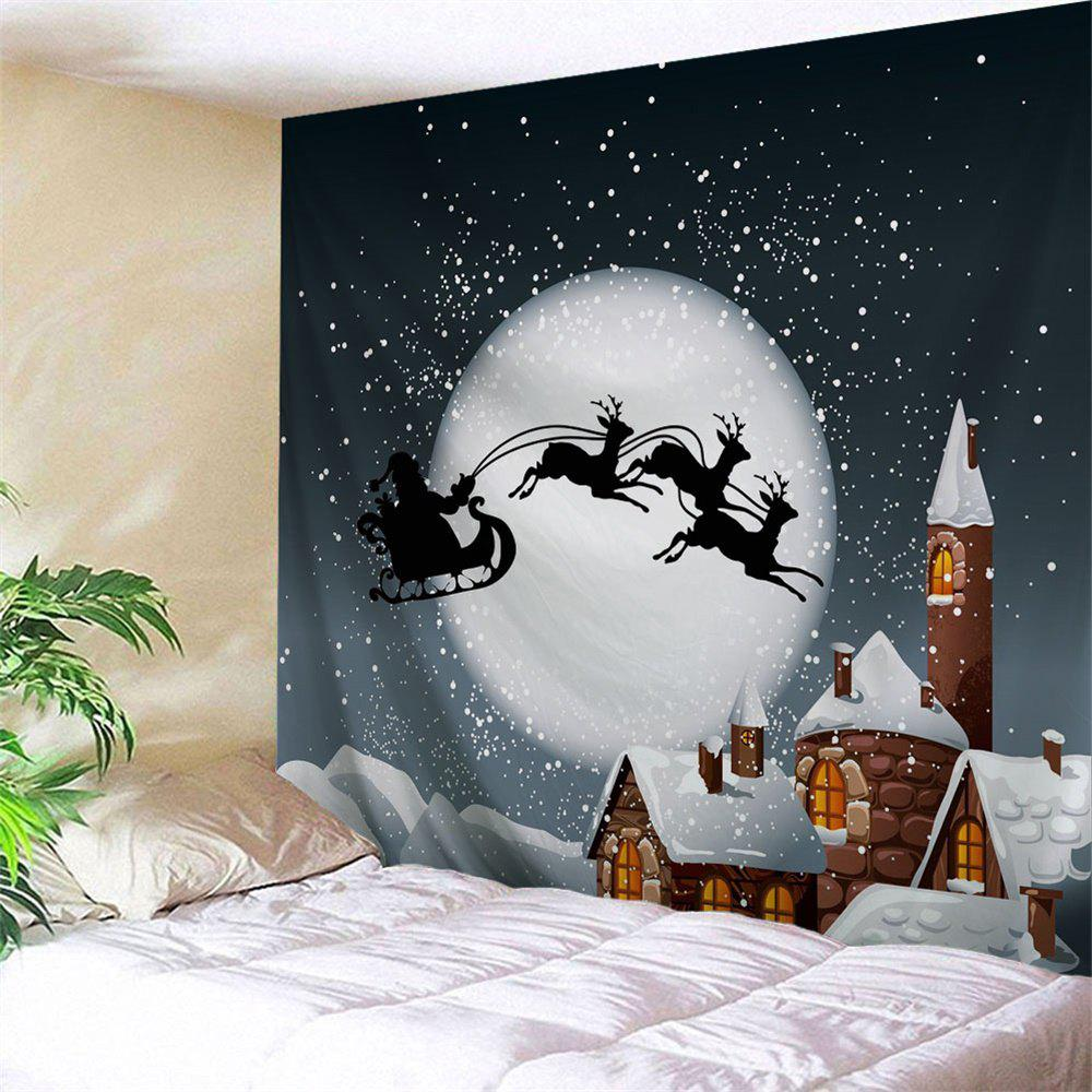 Wall Art Christmas Sled Moon Tapestry - SMOKY GRAY W59 INCH * L51 INCH