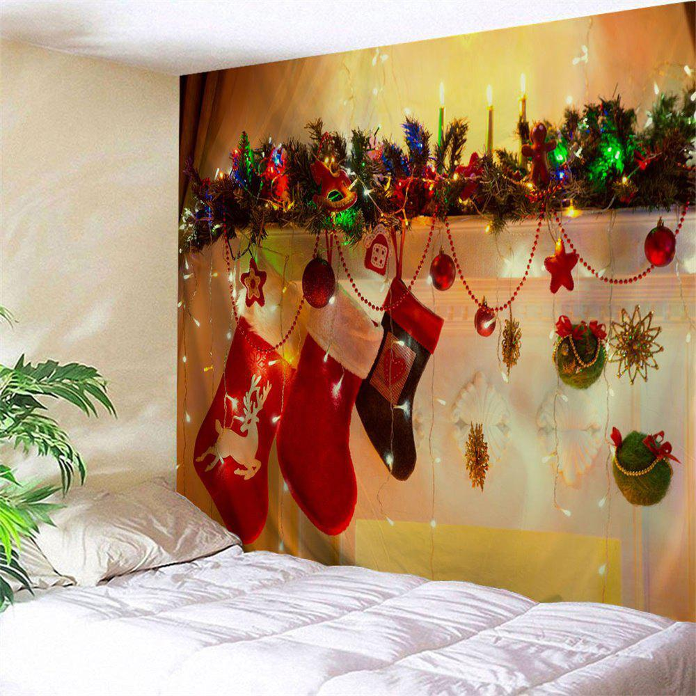 Christmas Socks Bedroom Wall Tapestry christmas town snow moon wall tapestry