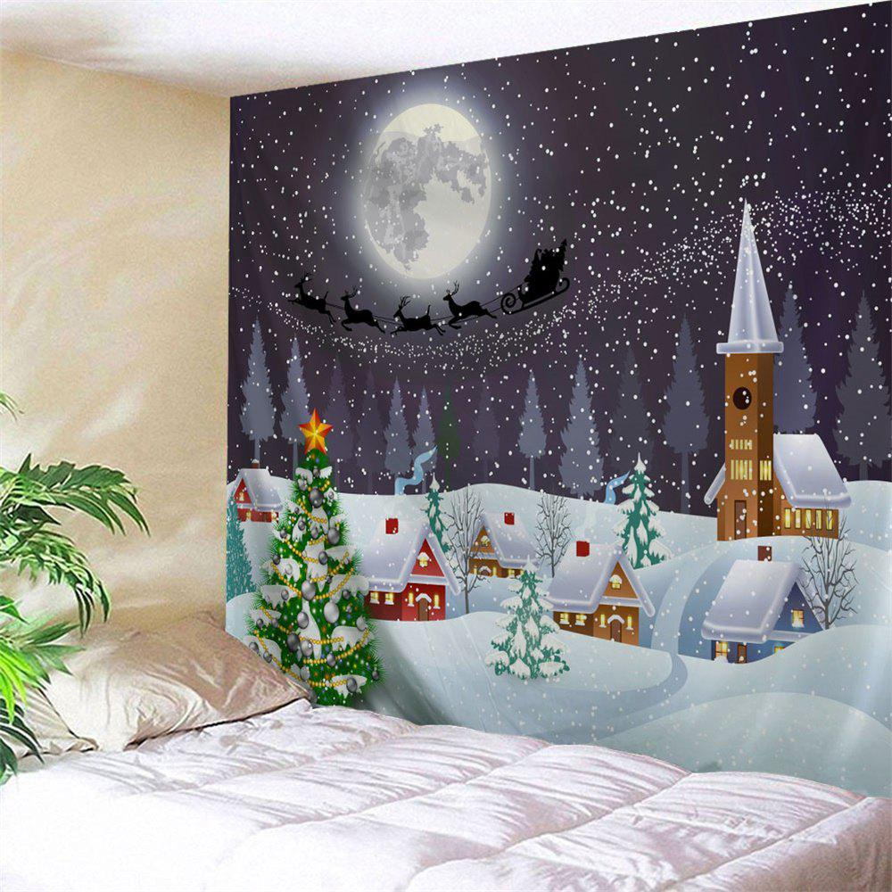 Christmas Town Snow Moon Wall Tapestry christmas town snow moon wall tapestry