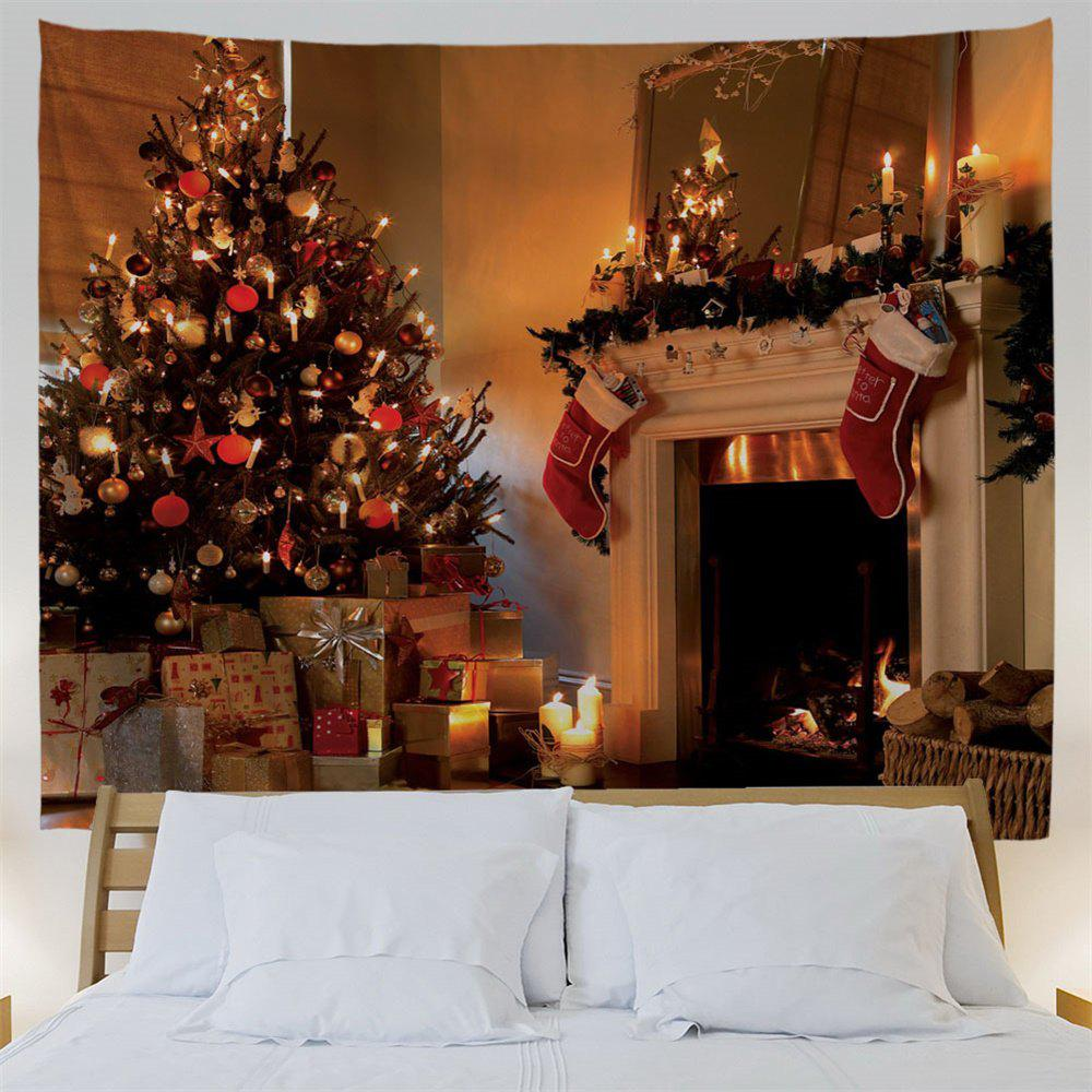 Christmas Fireplace Print Wall Tapestry - COLORMIX W91 INCH * L71 INCH