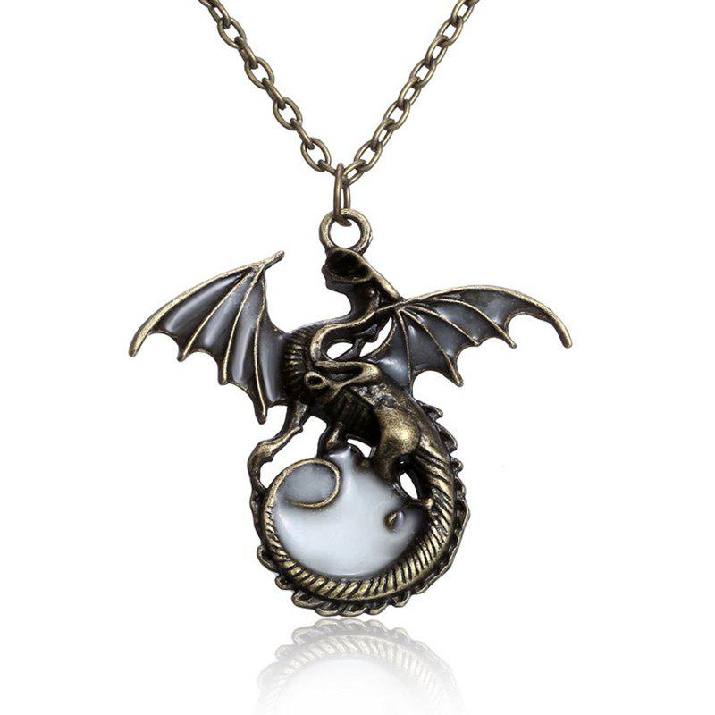 Creative Necklace with Flying Dragon Pattern Pendant