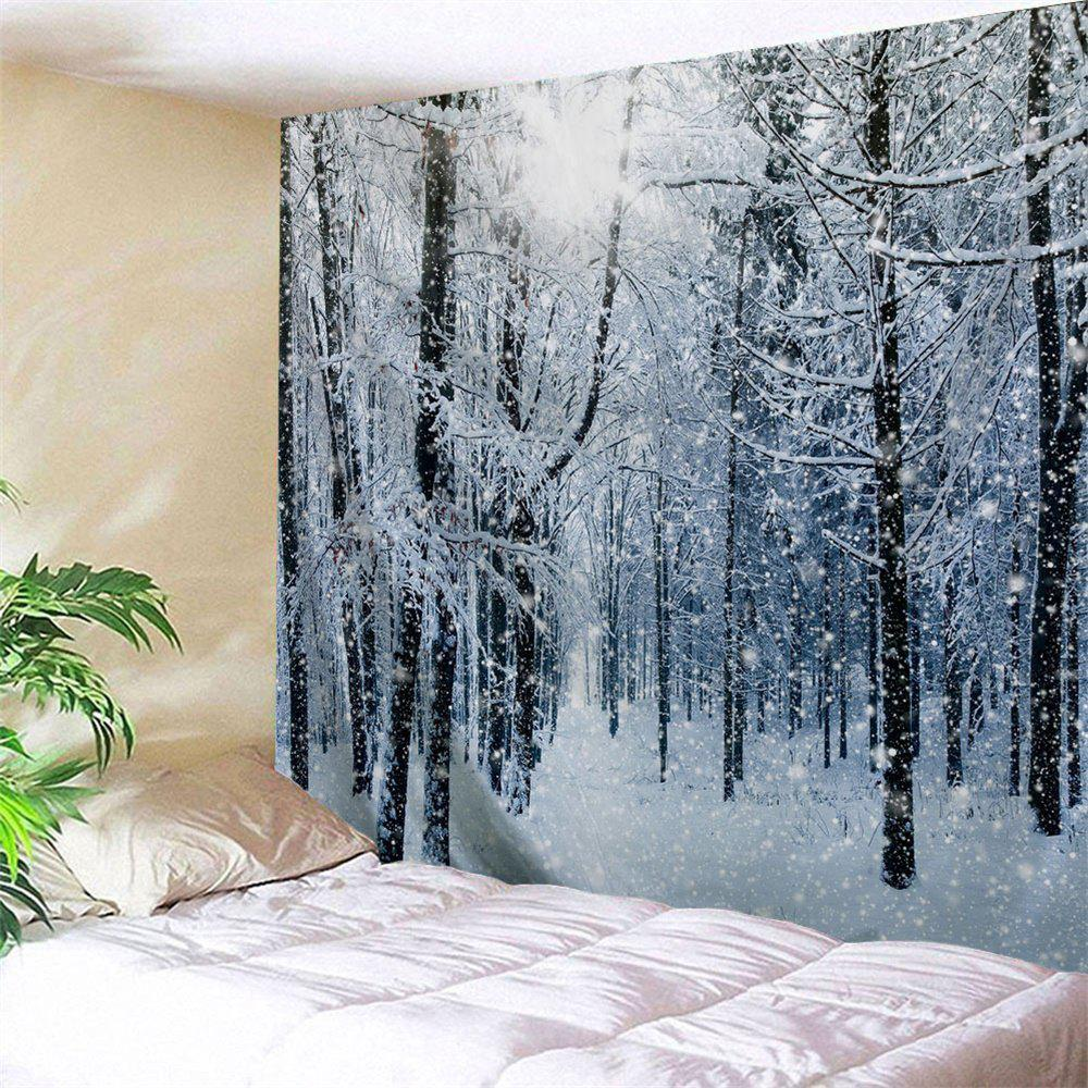 Snow Forest Print Tapestry Wall Hanging Art forest river unicorn print tapestry wall hanging art