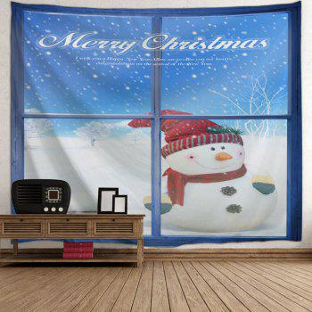 Wall Art Christmas Window Snowman Tapestry - BLUE/WHITE W91 INCH * L71 INCH