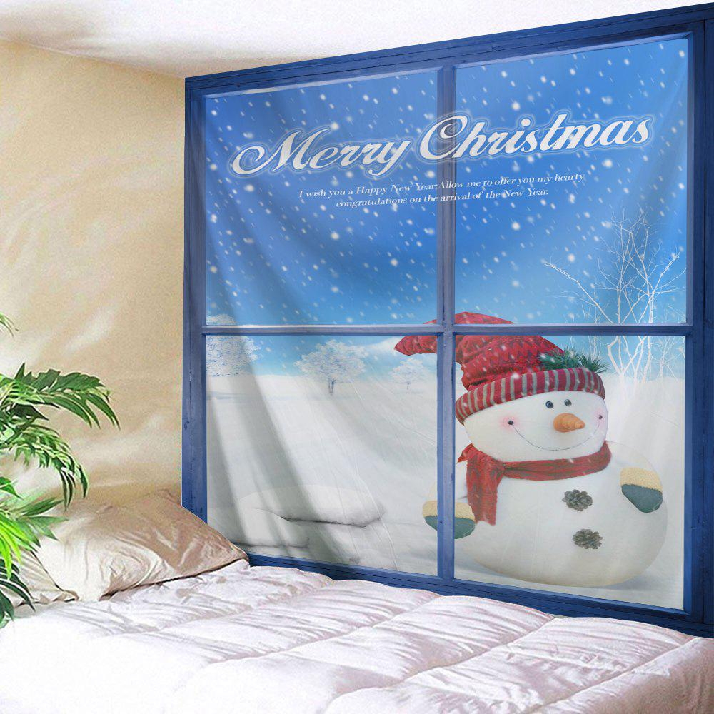 Wall Art Christmas Window Snowman Tapestry