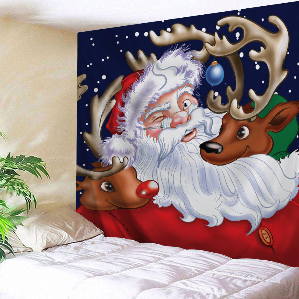 Santa Claus Reindeer Printed Christmas Tapestry - COLORMIX W91 INCH * L71 INCH