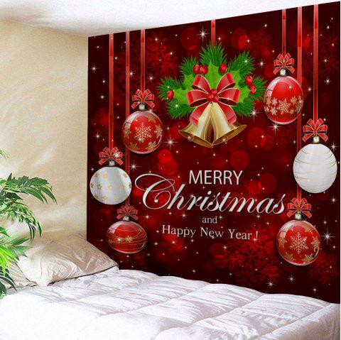 Wall Art Merry Christmas Ball Bell Tapestry - RED W59 INCH * L59 INCH