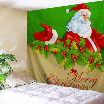 Santa Claus Wall Hanging Merry Christmas Tapestry - GREEN W91 INCH * L71 INCH