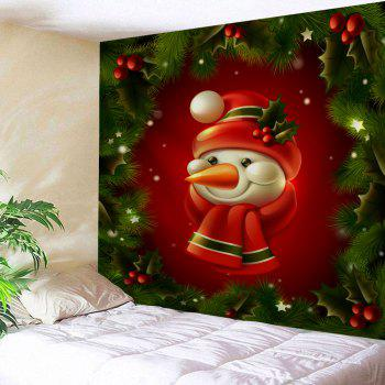 Christmas Tree Snowman Print Tapestry Wall Hanging Art - COLORMIX W91 INCH * L71 INCH