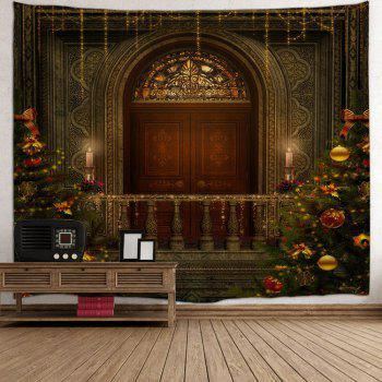 Christmas Tree Decorative Door Wall Hanging Tapestry - BROWN W91 INCH * L71 INCH
