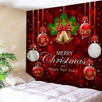 Wall Art Merry Christmas Ball Bell Tapestry - RED W91 INCH * L71 INCH