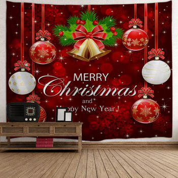 Wall Art Merry Christmas Ball Bell Tapestry - RED RED