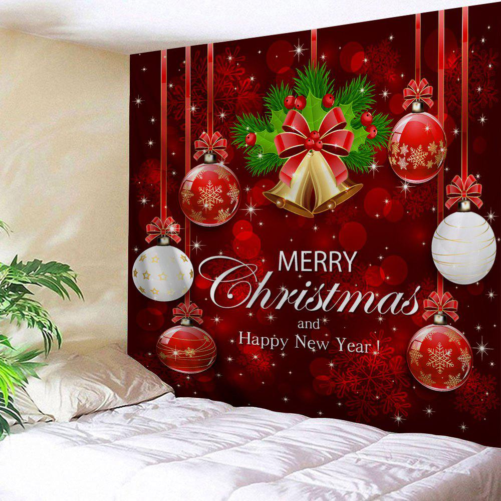 Wall Art Merry Christmas Ball Bell Tapestry   RED W59 INCH * L51 INCH