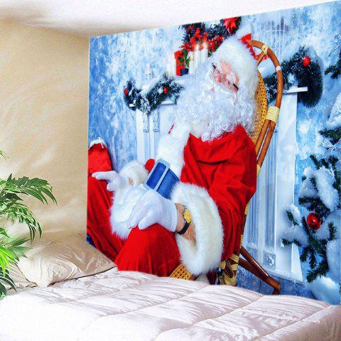 Christmas Santa Claus Print Tapestry Wall Hanging Decor - Rouge W91 INCH * L71 INCH