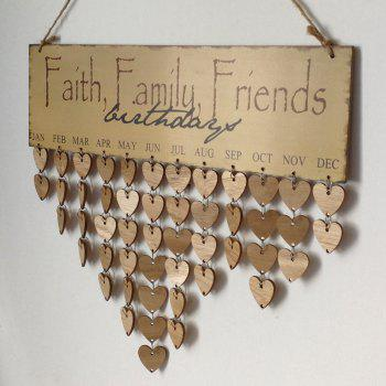 DIY Wooden Faith Family And Friends Birthday Calendar - GRAY