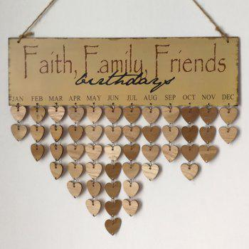 DIY Wooden Faith Family And Friends Birthday Calendar - GRAY GRAY