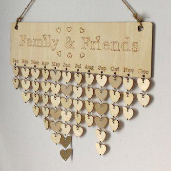 DIY Wooden Family And Friends Birthday Calendar - HEART