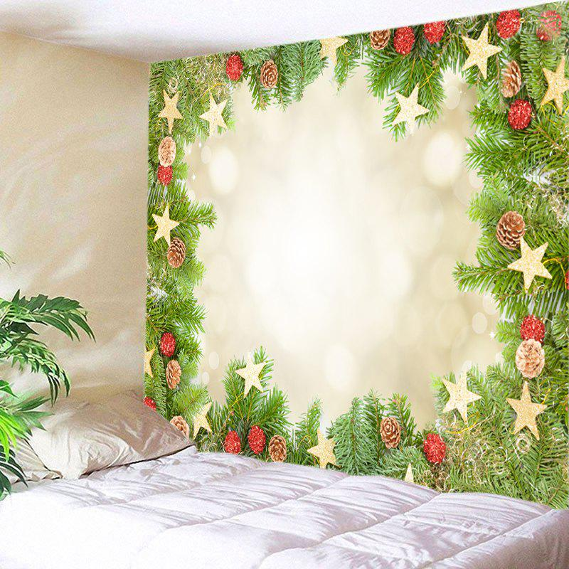 Christmas Tree Stars Print Tapestry Wall Hanging Art christmas tree snowman printed wall tapestry