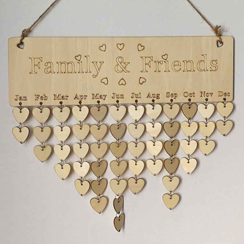 Diy wooden family and friends birthday calendar heart