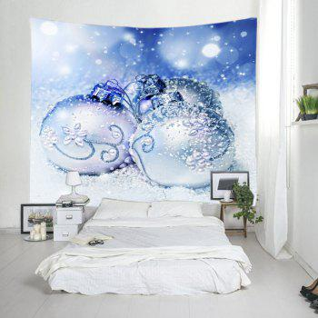 Christmas Snowfield Baubles Print Tapestry Wall Hanging Art - Bleu clair W59 INCH * L59 INCH