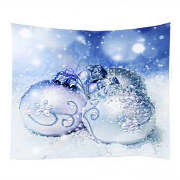 Christmas Snowfield Baubles Print Tapestry Wall Hanging Art - Bleu clair W79 INCH * L71 INCH