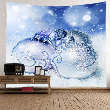 Christmas Snowfield Baubles Print Tapestry Wall Hanging Art - Bleu clair W91 INCH * L71 INCH