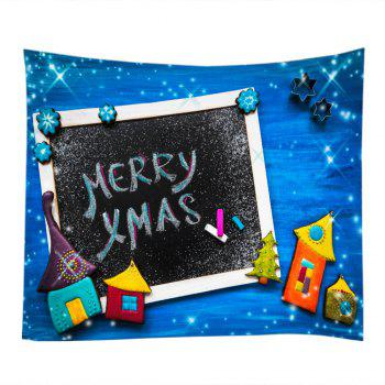 Merry Xmas Print Tapestry Wall Hanging Art - Bleu W59 INCH * L59 INCH