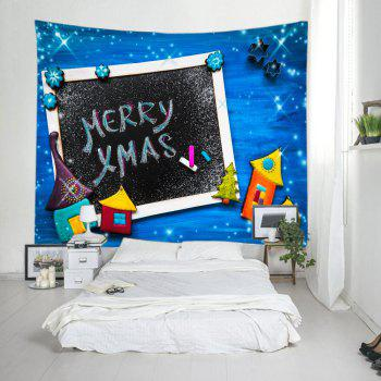Merry Xmas Print Tapestry Wall Hanging Art - Bleu W79 INCH * L71 INCH