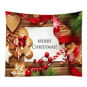 Tapisserie Murale Imprimé Cookies et Inscription Merry Christmas - multicolorcolore W91 INCH * L71 INCH