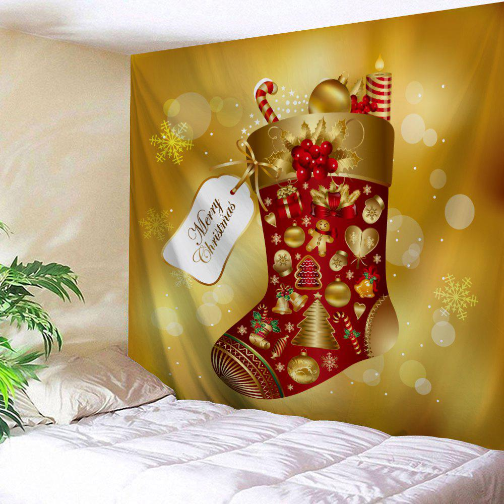 2018 Christmas Sock Print Wall Hanging Tapestry LIGHT BROWN W INCH L ...