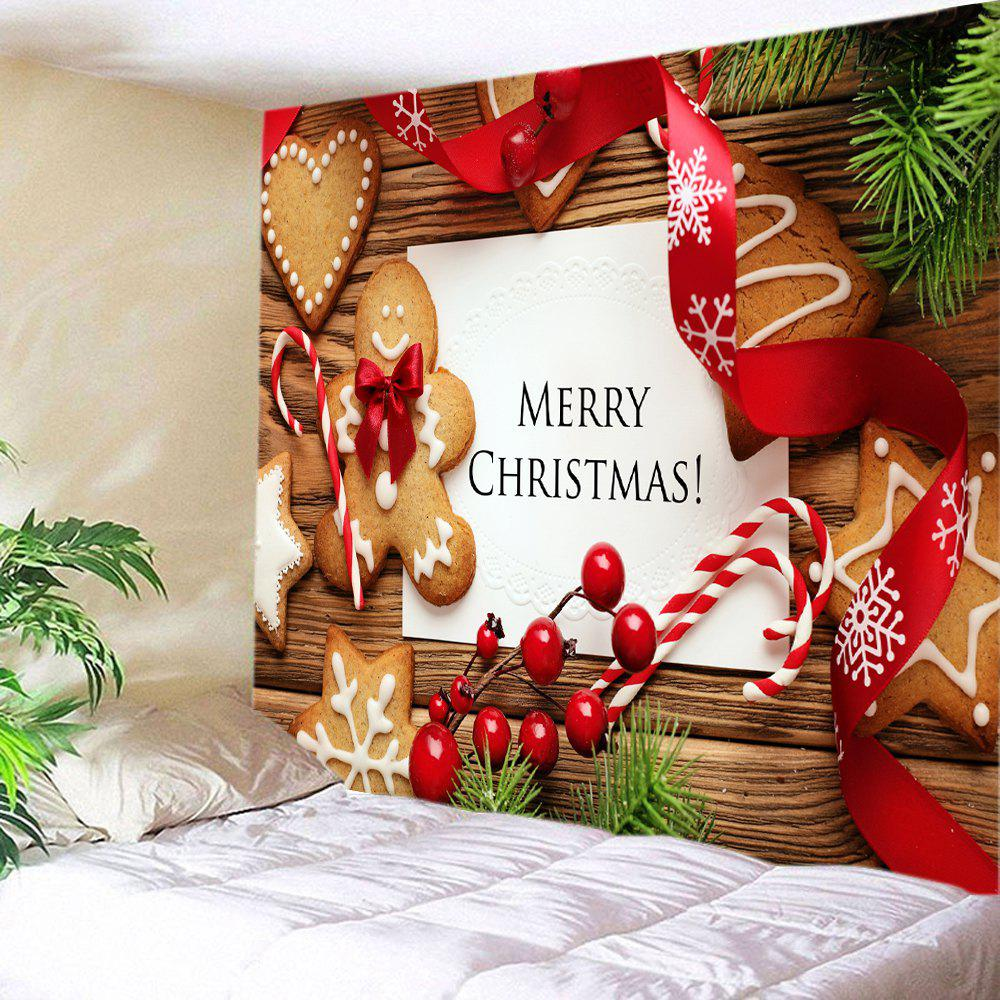 Tapisserie Murale Imprimé Cookies et Inscription Merry Christmas - multicolore W79 INCH * L59 INCH