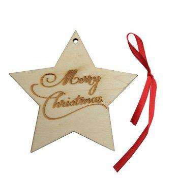 Christmas Tree Star Wooden Hanging Decorations - WOOD