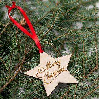 Christmas Tree Star Wooden Hanging Decorations - WOOD WOOD