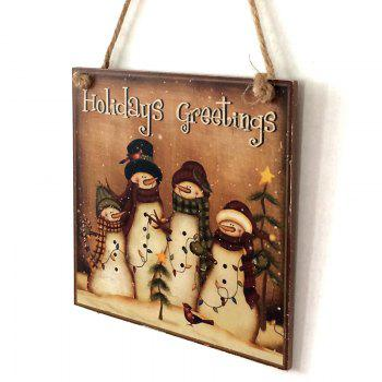 Christmas Snowmen Pattern Wooden Hanging Sign - BROWN BROWN