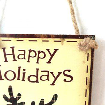 Christmas Deer Pattern Wooden Hanging Sign - PALOMINO