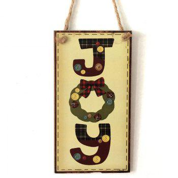 Christmas Joy Pattern Wooden Hanging Sign -  LIGHT YELLOW