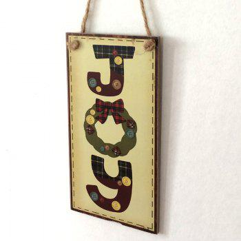 Christmas Joy Pattern Wooden Hanging Sign - LIGHT YELLOW LIGHT YELLOW