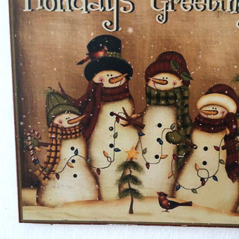 Christmas Snowmen Pattern Wooden Hanging Sign - BROWN