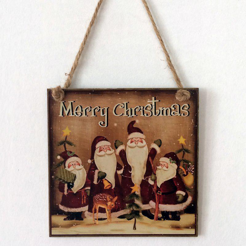 Christmas Santa Pattern Wooden Hanging Sign - BROWN
