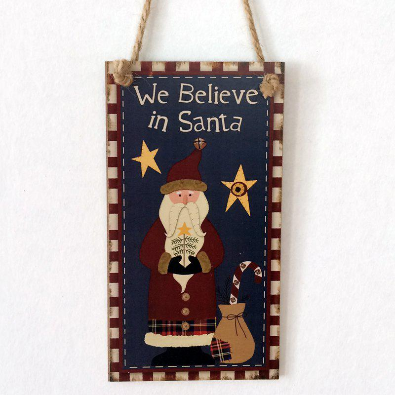 Christmas Santa Claus Pattern Wooden Hanging Sign - BLACK
