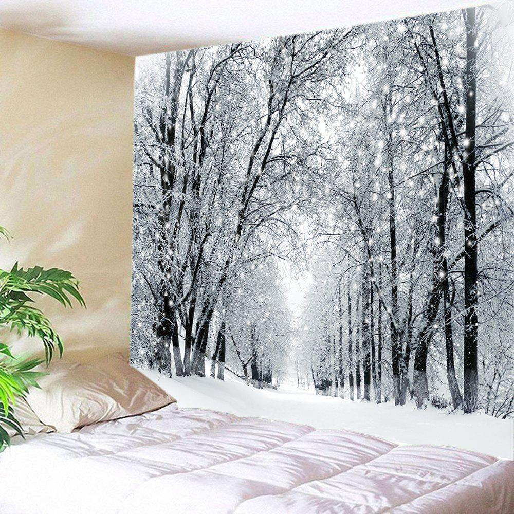 Snowy Forest Avenue Print Tapestry Wall Hanging Art forest wooden bridge print tapestry wall hanging art