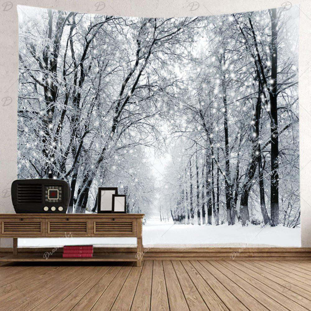 Snowy Forest Avenue Print Tapestry Wall Hanging Art - WHITE W91 INCH * L71 INCH