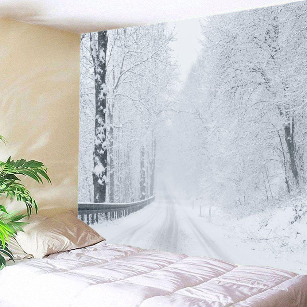 Snow Forest Road Print Tapestry Wall Hanging Art forest wooden bridge print tapestry wall hanging art