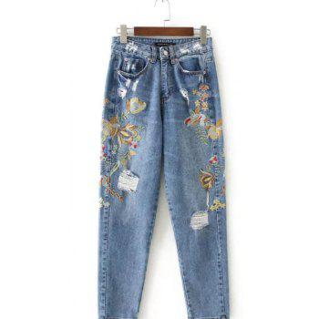 Ripped Floral Embroidered Jeans - BLUE BLUE