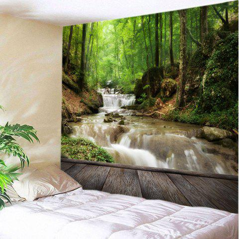 Forest Stream Print Tapestry Wall Hanging Art Decor - GREEN W79 INCH * L71 INCH