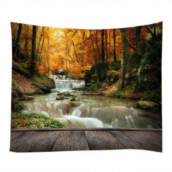 Maple Forest Stream Print Tapestry Wall Hanging Art - YELLOW W91 INCH * L71 INCH