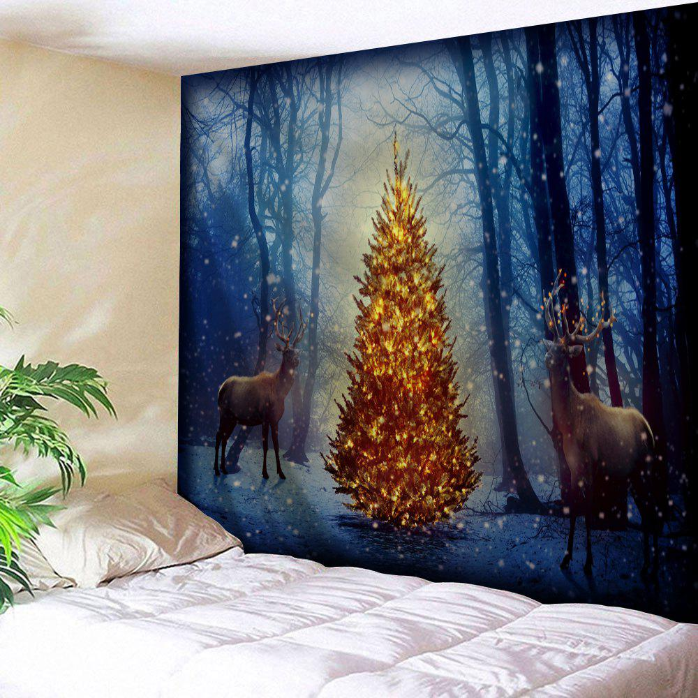 Misty Forest Elk Christmas Tree Wall Tapestry