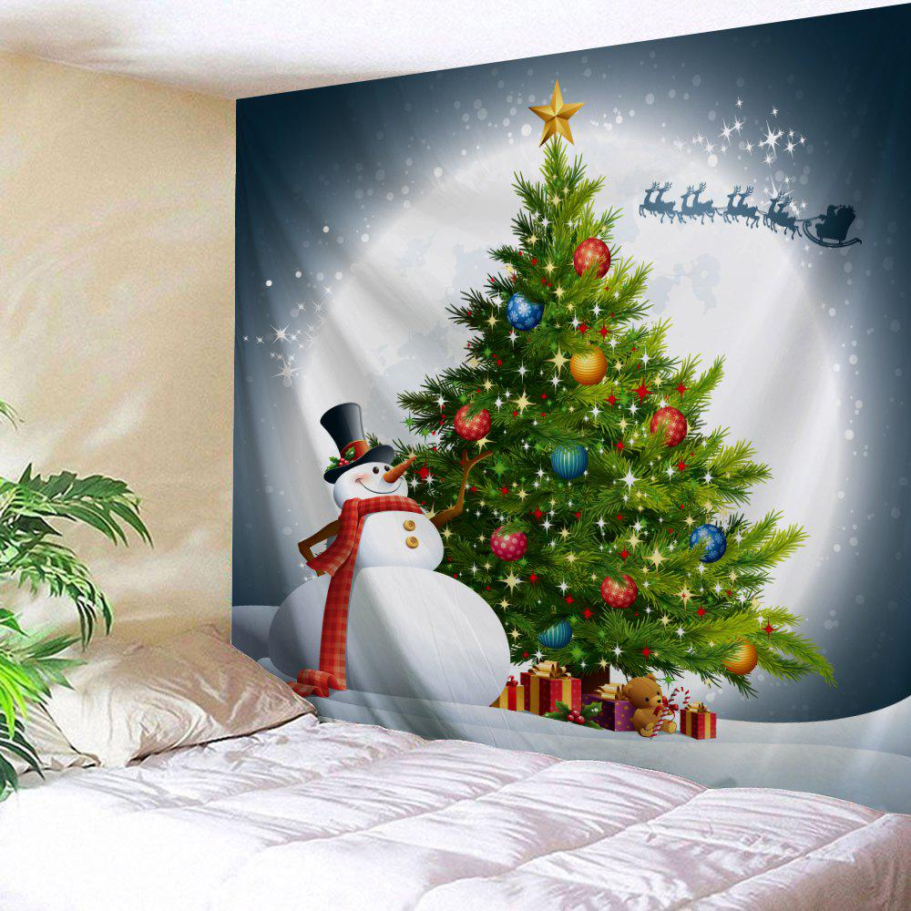 Snowman Christmas Tree Moon Wall Tapestry
