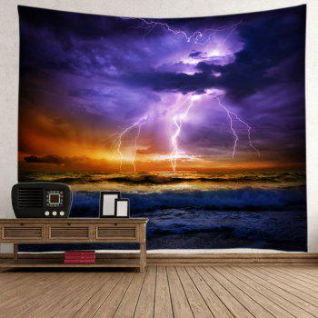 Lightning Ocean Print Tapestry Wall Hanging Art - PURPLE W91 INCH * L71 INCH